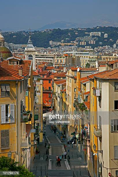 Elevated view of old street in Nice, France