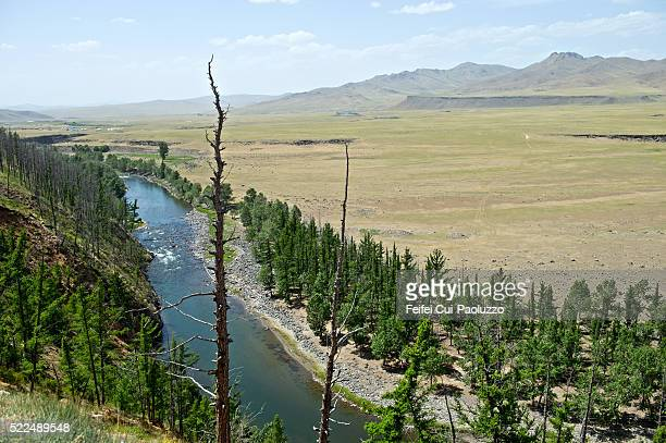 Elevated view of Orkhon River and Orkhon Valley in Central Mongolia