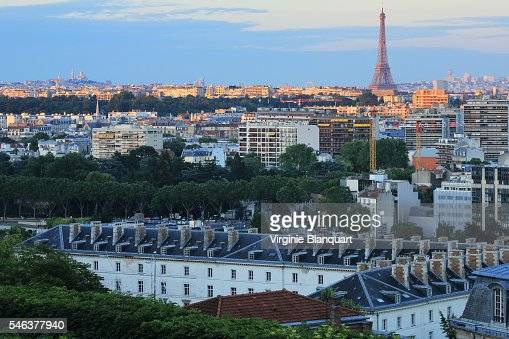 Elevated view of Paris and Boulogne Billancourt at sunset