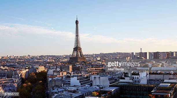 Elevated view of Paris with Eiffel Tower
