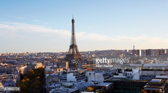 Elevated view of Paris with Eiffel Tower : Stock Photo
