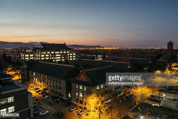 Elevated View of Peking University at Night, Beijing, China