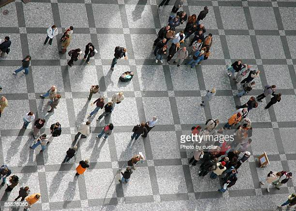 Elevated view of people at city tower