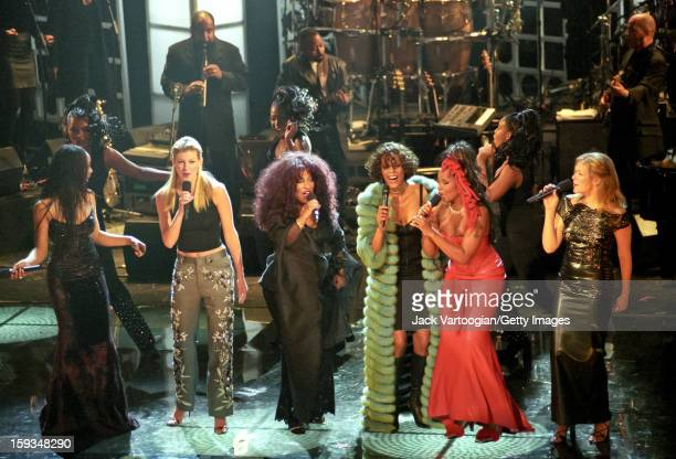Elevated view of performers onstage during the 'Divas LiveAn Honors Concert for VH1 Save the Music' at the Beacon Theater New York New York April 13...