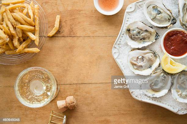 Elevated view of plate with oysters