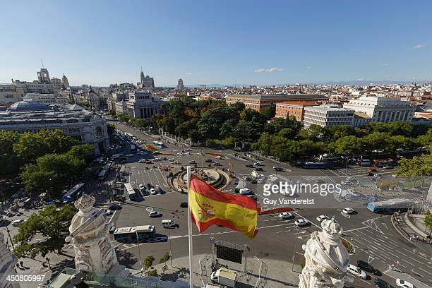 Elevated view of Plaza de la Cibeles in Madrid