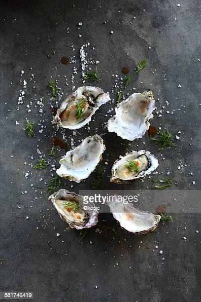 Elevated view of Prepared Oysters