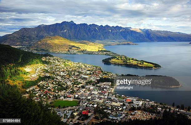 Elevated View of Queenstown in New Zealand.