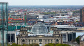 Elevated view of Reichstag and Berlin skyline