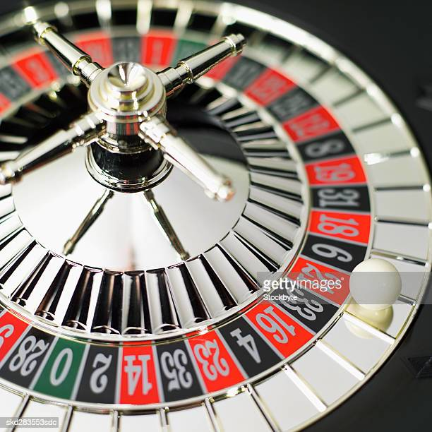 Elevated view of roulette wheel