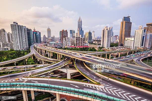 Elevated View of Shanghai Highway at Twilight