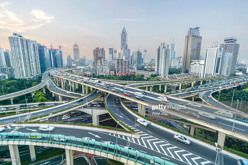 Elevated view of Shanghai highway