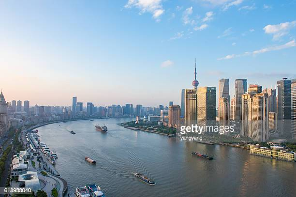 Elevated View of Shanghai Skyline at Sunset
