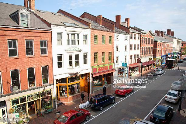 Elevated view of storefronts on Market Street Portsmouth New Hampshire Main Street USA