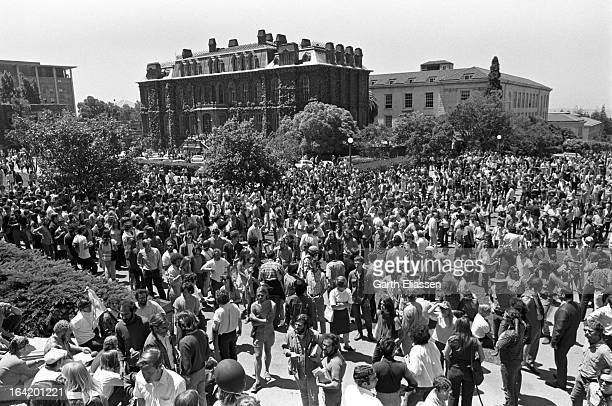 Elevated view of students and activists assembled in Spoul Plaza on the campus of the University of Berkeley for a protest related to the nearby...