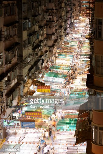 Elevated view of Temple Street Night Market : Stock Photo