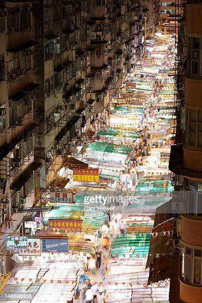 Elevated view of Temple Street Night Market