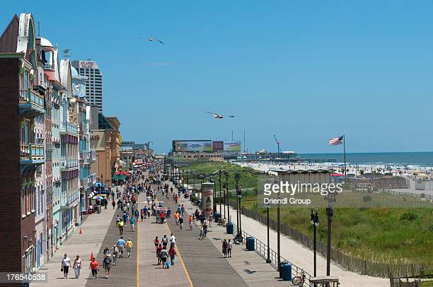 Elevated view of the Atlantic City Boardwalk.