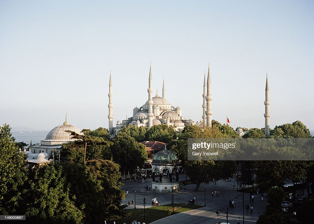 Elevated view of the Blue Mosque and Bosphorus : Stock Photo