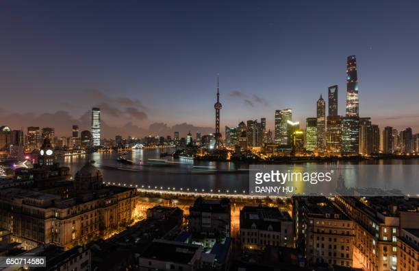 elevated view of the bund and Lujiazui district at dawn