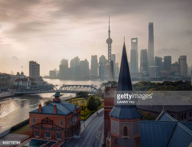 elevated view of the bund and Lujiazui in shanghai in the morning