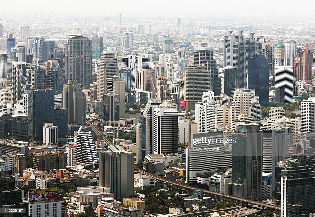 Elevated view of the city of Bangkok : Stock Photo