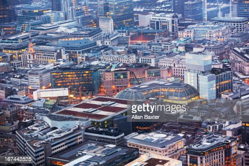 Elevated view of the City of London : Stock Photo
