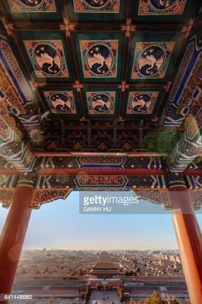elevated view of the forbidden city at jingshan park,beijing