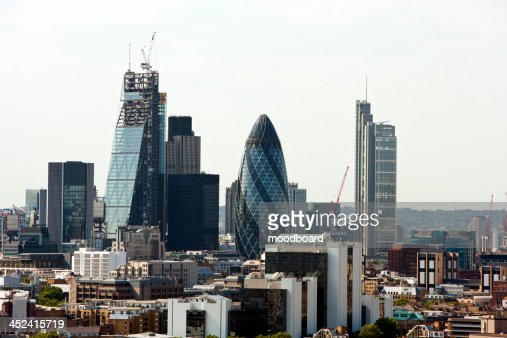Elevated view of The Gherkin and surrounding buildings, London : Stock Photo
