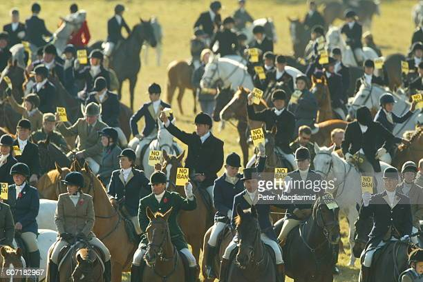 Elevated view of the mounted men and women at a mass fox hunt Badminton England November 1 2003