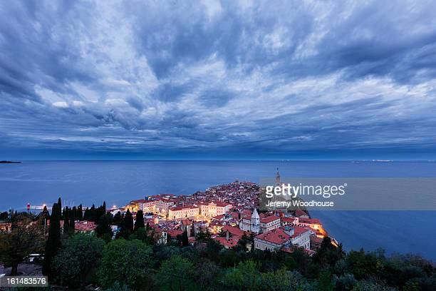 Elevated view of the old town, Piran