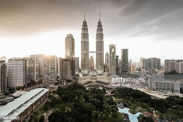 Elevated view of the Petronas towers at dusk