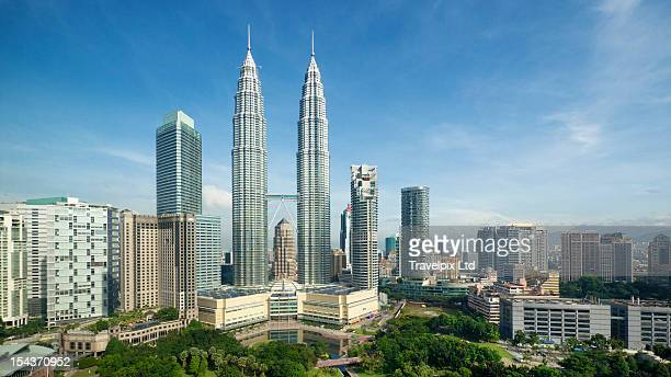 Elevated view of the Petronas Twin Towers