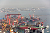 Elevated view of the port & shipyard