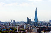 Elevated view of The Shard and London Eye, London