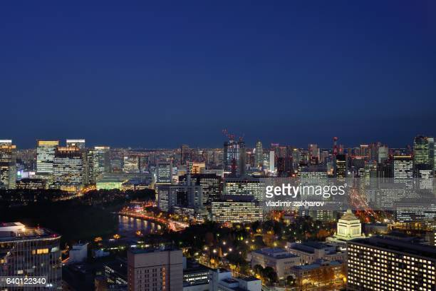 Elevated view of Tokyo after dark