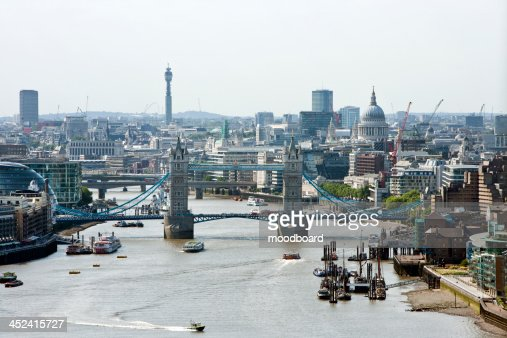 Elevated view of Tower Bridge and St Pauls, London : Stock Photo