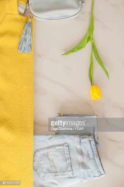 Elevated view of tulip and jeans