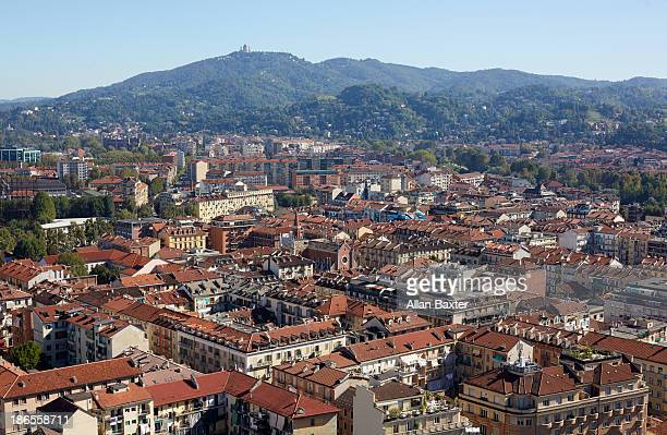 Elevated view of Turin at midday