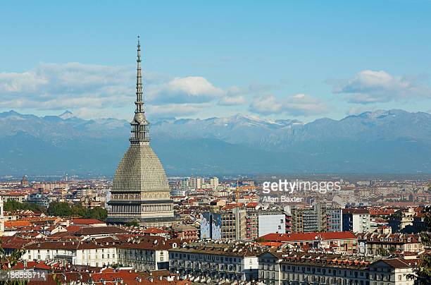 Elevated view of Turin with 'Mole Antonelliana'