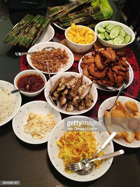 Elevated View Of Various Foods On Table