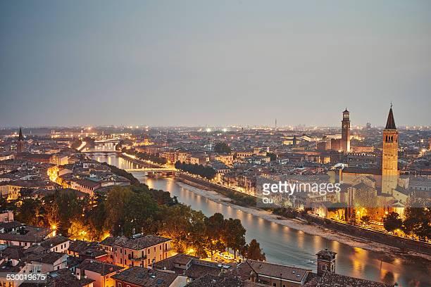 Elevated view of Verona, Italy, at dusk