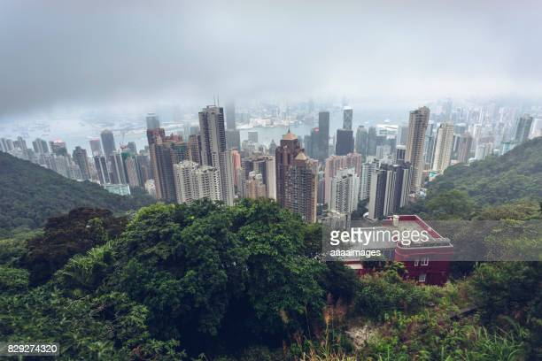 elevated view of victoria harbor skyline at the mountain