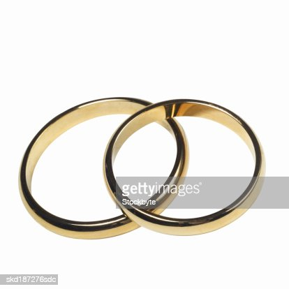 Elevated view of wedding rings : Stock Photo