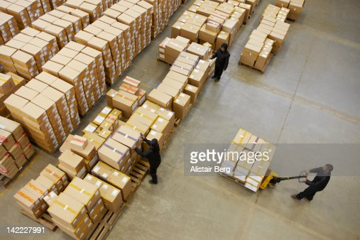 Elevated view of workers in a warehouse