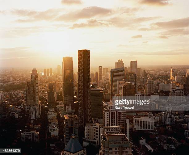 Elevated view over financial district of Bangkok