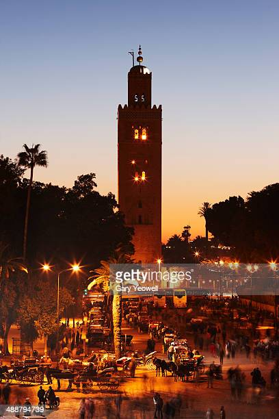 Elevated view over La Koutoubia at sunset