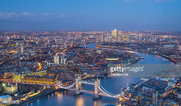 Elevated view over London