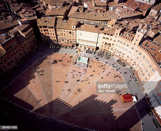 Elevated view over Piazza del Campo in Siena