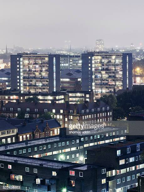 Elevated view over residential housing in London